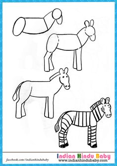 Find out the easy drawing tips and learn how to draw Zebra - https://www.indianhindubaby.com/zebra-step-step-drawing-ki…/