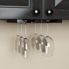 Hanging Under Cabinet Stemware Wine Glass Holder Rack , Adjustable , Black Wood