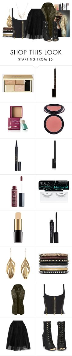 """Untitled #1026"" by cheyleexox ❤ liked on Polyvore featuring Anastasia Beverly Hills, Benefit, Sigma, Stila, NARS Cosmetics, Charlotte Russe, Ardell, Lancôme, Smashbox and Aurélie Bidermann"