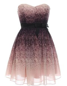 Speckled Fantasy Dress: Features a beautiful sweetheart neckline with padded bust for full support, delicate pale mauve shell sprayed with purple dye for an artistic touch, black banded waist with adorable bow-tie accent, and a flared princess skirt to finish.