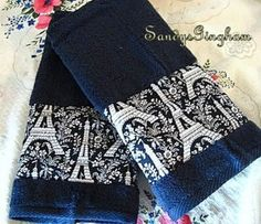 Custom Hand Towel Set #EIFFEL TOWER MICHAEL MILLER Fabric Black Hand Towels  #HANDDECORATED