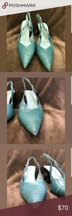 Giuseppe Zanotti pointy toe heels slingback sz 38 Giuseppe Zanotti pointy toe sling back heels. Turquoise. Very cute. Inscribed with serial number 1495 38 9992 E. Size 38 Italian and 8 in US. Some signs of wear as shown in pictures some scuffing on front of point. Any questions please ask. Giuseppe Zanotti Shoes Heels