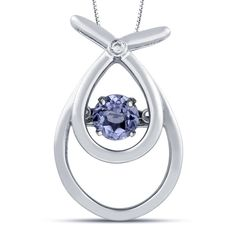 .40 carat total weight pendant features a .39 carat round cut tanzanite in motion along with a .01 carat round cut diamond prong set in silver.