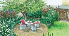 Nachdem die große Rasenfläche nicht mehr als Spielwiese für die Kinder dient, wird nach neuen Ideen für die Gartengestaltung gesucht. Unsere Ideen beinhalten zum Einen einen romantischen Landhausgarten und zum Anderen eine Variante mit Pool. Mit Pflanzplänen als PDF zum Herunterladen und Ausdrucken.
