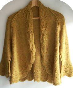 Gilet moutarde, tricot, bordure crochet