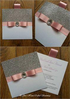 Baby pink glitter wallet Wedding invitation  www.jenshandcraftedstationery.co.uk www.facebook.com/jenshandcraftedstationery