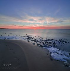 Sunset on Ghudskoy Lake and animal tracks by Andrew Ignatov Animal Tracks, Sunset, Beach, Water, Animals, Outdoor, Sunsets, Gripe Water, Outdoors