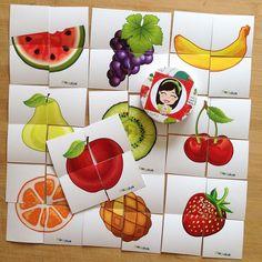 """""""PiaPolya Dört Parçalı Meyve Görsellerini Tamamlama Kartları"""" 18 ay ve 36 ay arası çocuklarınız için uygundur. A3"""