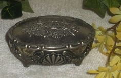 $6.48 or best offer Footed Trinket Jewelry Lined Inside Box Small Floral Birds Ornate vintage Silver