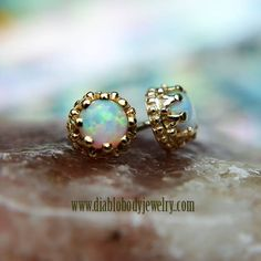 BVLA Crown Opals great for cartilage, earlobe, tragus, conch, etc piercings