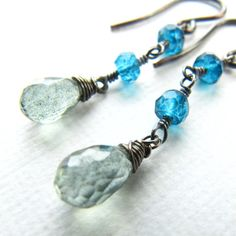 Wire Wrapped Short Dangle Drop Earrings Mystic by mylenefoster, $46.00