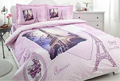 100% Turkish Cotton Ranforce Paris Eiffel Tower Theme Themed Vintage Amour Pink Double Full Queen Size Quilt Duvet Cover Set Bedding 4 Pcs!! Made in Turkey, Turkish Bedding Set istanbulhomecollection paris series http://www.amazon.com/dp/B00TGG676K/ref=cm_sw_r_pi_dp_nVCIvb17DZ3K3
