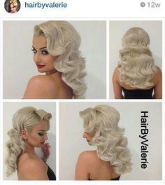 Vintage retro Old Hollywood glam finger wave hair- hair by valerie Love Hair, Gorgeous Hair, Wedding Hair And Makeup, Hair Makeup, Hair Wedding, Makeup Hairstyle, Party Wedding, Bridal Hairstyle, Hotel Wedding