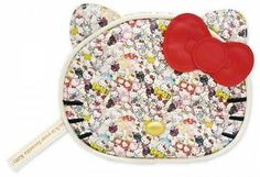 Hello Kitty 40th Anniversary Cosmetic Pouch Makeup Bag Purse Case~If you look at this little purse real close, it looks at first like sequins, but its really little tiny Hello Kitty faces covering the pouch~Adorable~