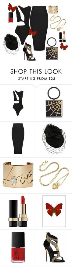 """Posh Girl Hot Sugar Black Bandage Bodysuit"" by poshgirlus on Polyvore featuring Charlotte Olympia, Posh Girl, Lanvin, Christian Dior, Dolce&Gabbana, Amara and NARS Cosmetics"