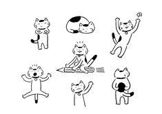 Cat's Day - Masao Takahata Japanese Illustration, Illustration Sketches, Illustrations And Posters, Character Illustration, Graphic Design Illustration, Cat Character, Character Design, Poster Drawing, Cute Doodles