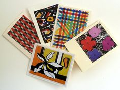 Set of 5 mini handmade cards, OOAK, with kraft envelopes. Multi colour & black. Gift notes. Thank you notes.