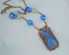 BLue opal Glass Moonstone Necklace Art Deco Inspired by LilisGems, $48.00