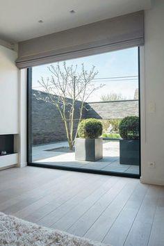 Home Interior Design, Exterior Design, Interior And Exterior, House Extension Design, House Design, Quonset Homes, Front Courtyard, Home Curtains, Interior Windows