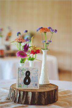 travel themed table numbers http://www.weddingchicks.com/2013/10/23/north-carolina-wedding/