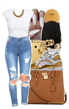 faded by yeauxbriana ❤ liked on Polyvore featuring Goldgenie, Apt. 9, Allurez, Versus and Michael Kors