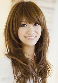 Cute Long Hairstyles with Bangs and Layers for Oval Faces Asian…