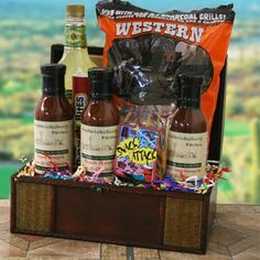 BBQ Gift Baskets: Where Theres Smoke Theres Fire Grilling Gift Basket Grill Basket, Bbq Gifts, Container Size, Fundraising Ideas, Basket Ideas, Gift Baskets, Grilling, Fire, Smoke