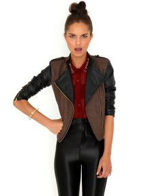 Lester Tweed & Leather Contrast Jacket-jackets-missguided
