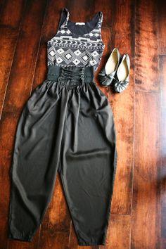 Vintage 80's Black Lace-up Elastic Waist Harem Pant