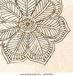 Hand-Drawn Sketchy Henna Doodle Flower Vector Illustration by blue67design, via Shutterstock
