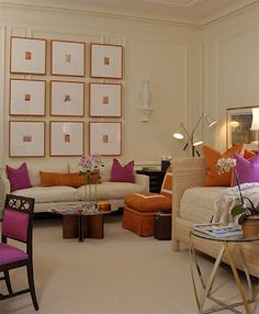 Eileen Kathryn Boyd Interior Showroom  Love the orange and pink with all the natural.