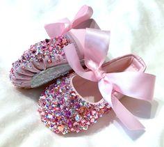 100% Swarovski Slippers Infant Baby Ballerina Ballet Shoes Slippers Newborn Strassed Pointe Shoes Baby Girl Shadow Box Keepsake Nursery Art by BellePapiers