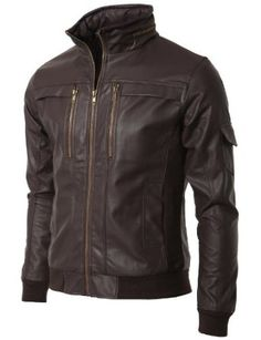 Mens Leather Jacket with Chest Pocket