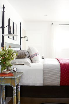Ticking stripe bedding and simple room