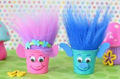 Reuse K-Cups to make Poppy and Branch Trolls Party Crafts and fill with candy! If...