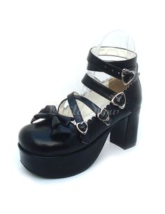 a8d8b114c0c Matte Black Lolita Chunky Heels Shoes Ankle Straps Heart Shape Buckles