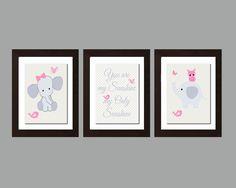 Early Holiday Sale!!! You Are My Sunshine Print, You Are My Sunshine Wall Art, Elephant Owl Decor, Pink Gray Nursery Decor, Girls Nursery Wall Art,