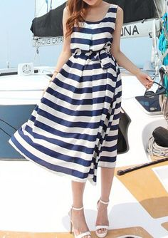 Navy White Sleeveless Striped Tie-waist Dress 28.67