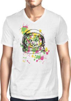 Colourful Space Cat - Dhaporshankh Guys V-Neck