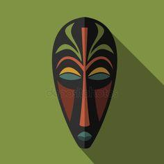 Set of African Ethnic Tribal masks on colour background — Stock Illustration African Theme, African Masks, Tiki Maske, African Art Projects, Cardboard Mask, Afrique Art, African Art Paintings, African Sculptures, Art Premier