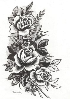 les roses - Encre de chine - By Manola