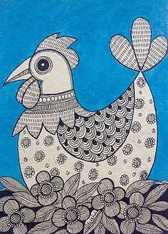 40 Simple And Easy Gond Painting Designs For Art Lovers - Free Jupiter Worli Painting, Rooster Painting, Fabric Painting, Madhubani Art, Madhubani Painting, Bordados E Cia, Indian Folk Art, Esquivel, Indian Art Paintings