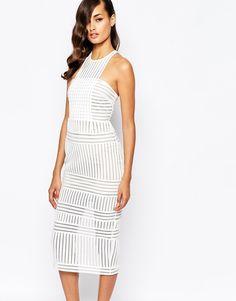Image 1 ofSelf Portrait Striped Mesh Column Dress