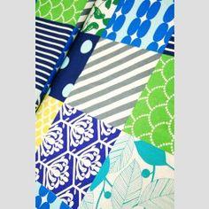 Piece Patchwork - Blue/Green - Echino 2012 linen blend fabric by Etsuko Furuya
