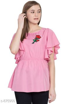 Tops & Tunics Stylish Crepe Top Fabric: Crepe Sleeves: Butterfly Sleeves Are Included Size:  S - 36 in M- 38 in L - 40 in XL - 42 in Length: Up To 24 in Type: Stitched Description: It Has 1 Piece Of Top Work: Embroidery Country of Origin: India Sizes Available: S, M, L, XL   Catalog Rating: ★4 (502)  Catalog Name: Women's Crepe Tops & Tunics CatalogID_101979 C79-SC1020 Code: 973-875900-939