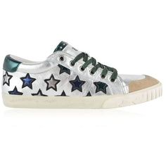 Ash Majestic Trainers ($220) ❤ liked on Polyvore featuring shoes, sneakers, metallic sneakers, lace up sneakers, ash sneakers, leather lace up shoes and lace up shoes