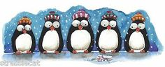Print Watercolor Whimsical Bird Penguin Winter Hats Snowfall Fish 3 5 x 8 5 034 | eBay