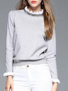 #AdoreWe YIYIQI Gray Long Sleeve Beaded Stand Collar Long Sleeved Top - AdoreWe.com