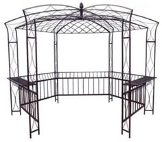 """Bombay Gazebo by Austram. $1495.95. Bombay Gazebo Envision The Party Reminiscent of the beautiful designs of the Victorian era, this Bombay Gazebo will enhance the entrance to any garden setting. Constructed from powder coated 3/8"""" steel Heavy duty stakes ensure that it will not blow over Available in Roan Brown Dimensions: 10' x 10' x 118"""" In Stock-Ships Fast About Austram In 1983, Austram became the first company in the US. to introduce a coconut fiber lined wire planter ..."""