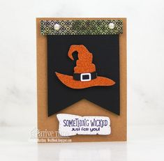 Here is Day 2 of the sneak peeks with the My Creative Time Edition release. Sentiment: Something wicked. Something Wicked, Halloween Cards, Scrapbooking Ideas, Handmade Cards, Wrapping, Wraps, Just For You, Day, Creative